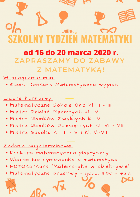 Zaproszenie do Szkolnego Tygodnia Matematyki